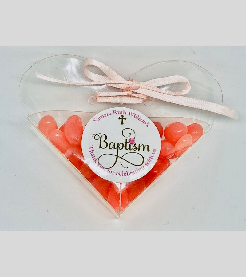 pink personalised baby shower favours