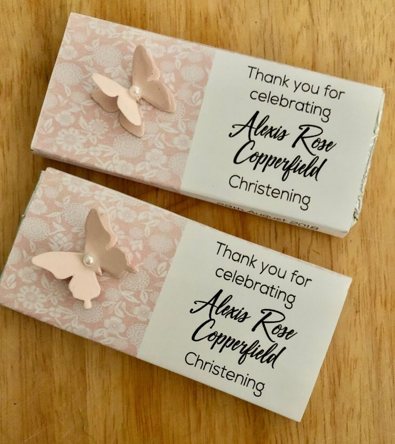 personalised wrapped chocolate bars for christenings
