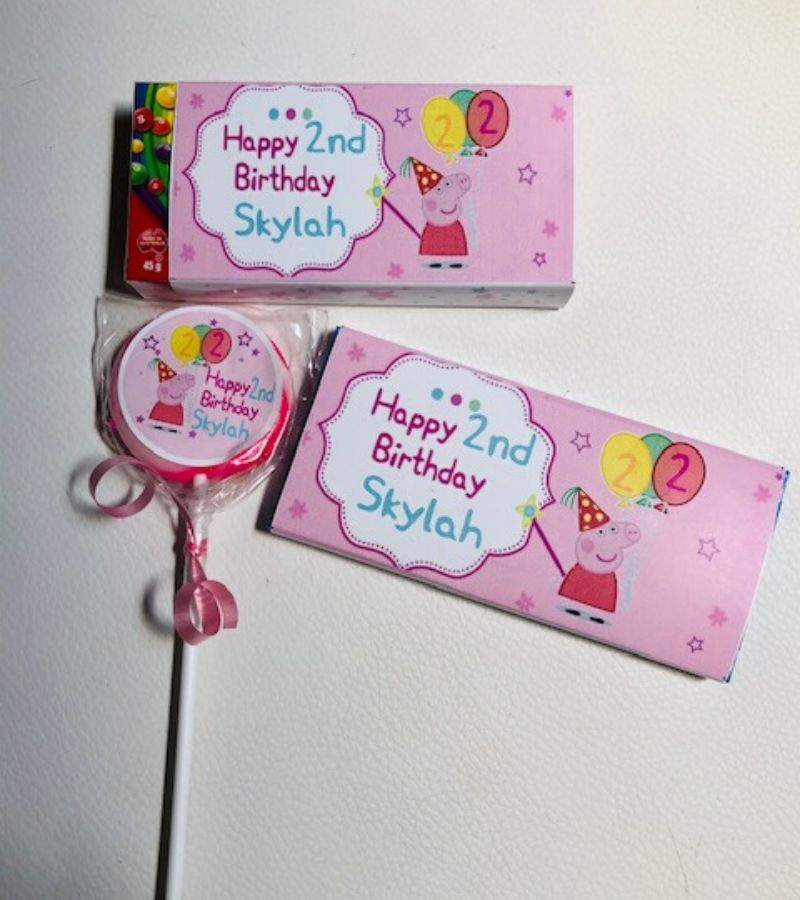 personalised peppa pig party favours