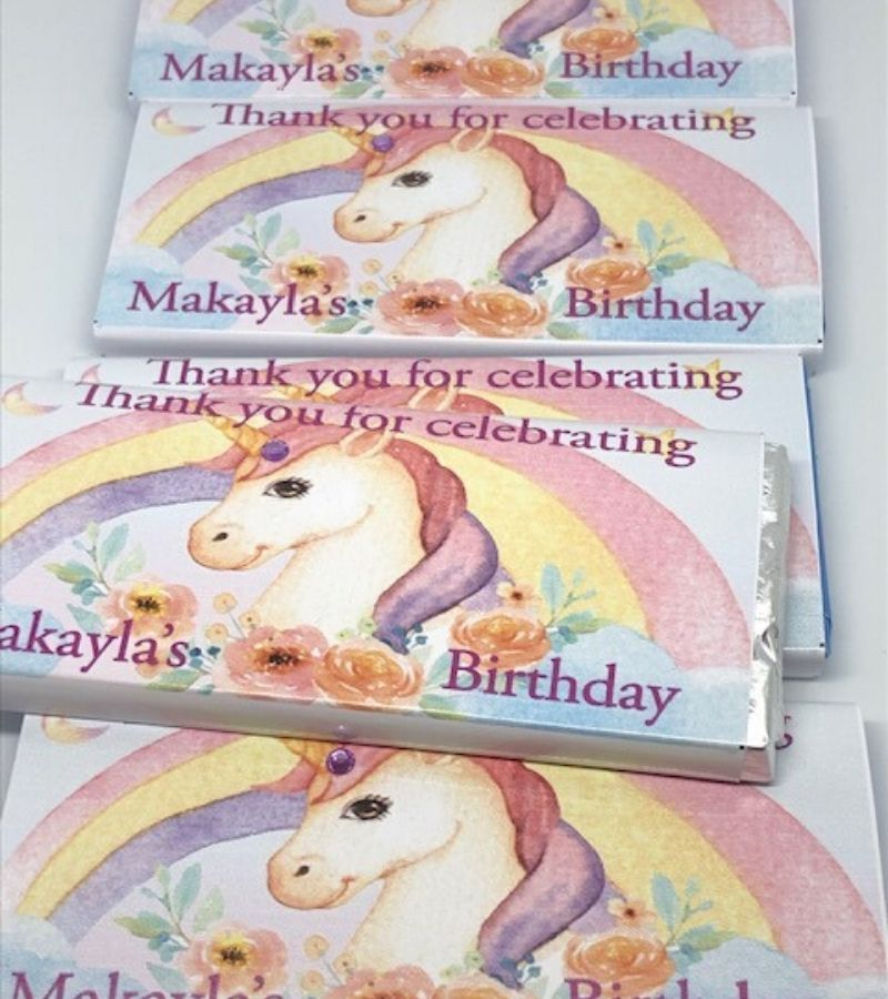 personalised unicorn party favours
