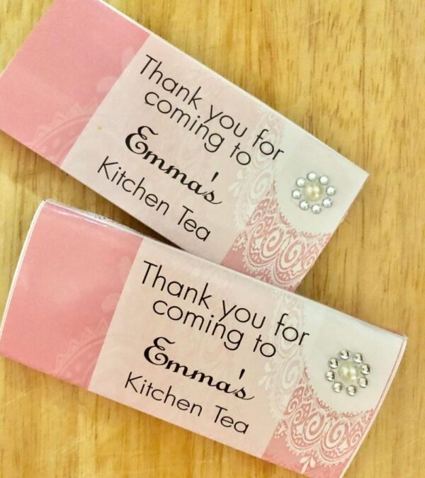 personalised wrapped kitchen tea party favours