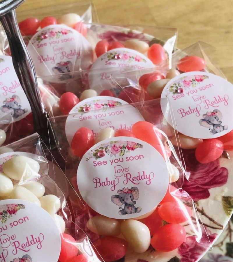 personalised baby shower jelly bean favours